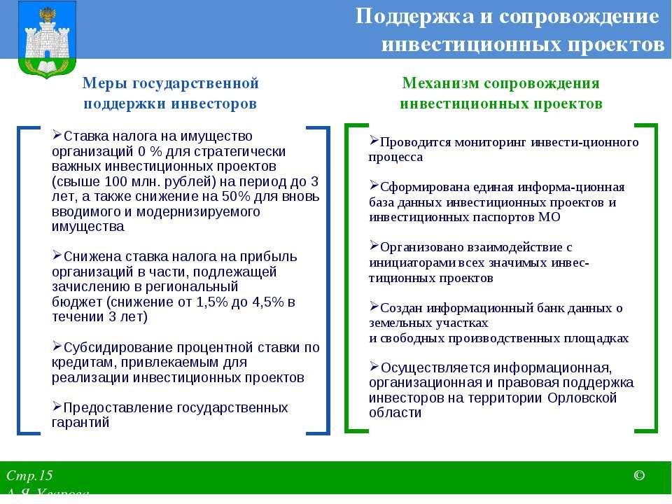Меры государственной поддержки инвесторов Механизм сопровождения инвестиционн...