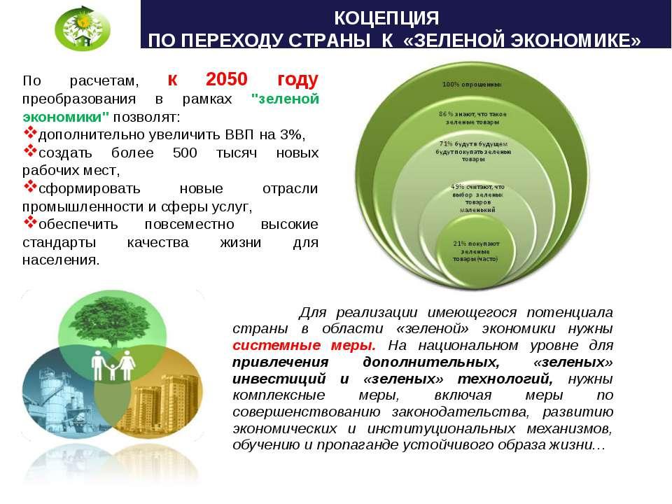 Для реализации имеющегося потенциала страны в области «зеленой» экономики нуж...