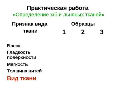 Практическая работа «Определение х/б и льняных тканей»