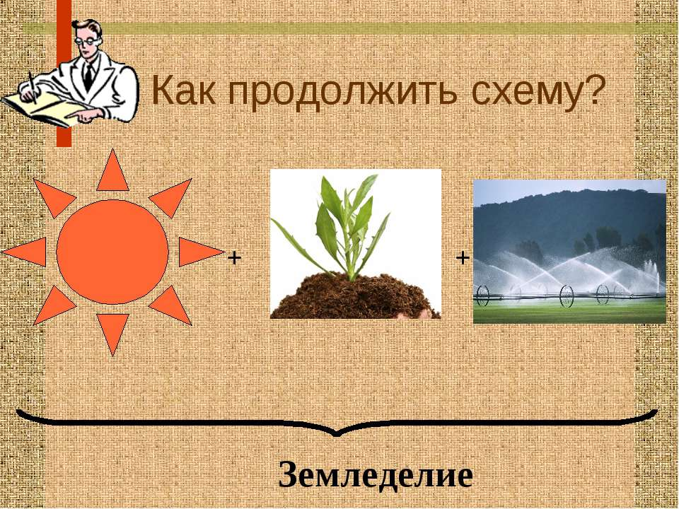 Как продолжить схему? + + Земледелие