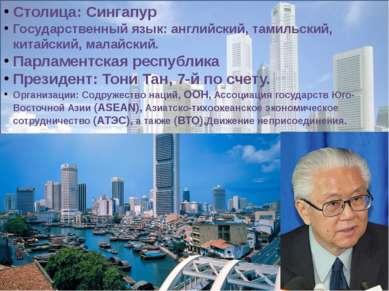 Столица: Сингапур Государственный язык: английский, тамильский, китайский, ма...