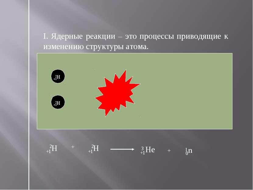 I. Ядерные реакции – это процессы приводящие к изменению структуры атома. +1Н...
