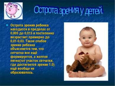 Острота зрения ребенка находится в пределах от 0,005 до 0,015 и постепенно во...