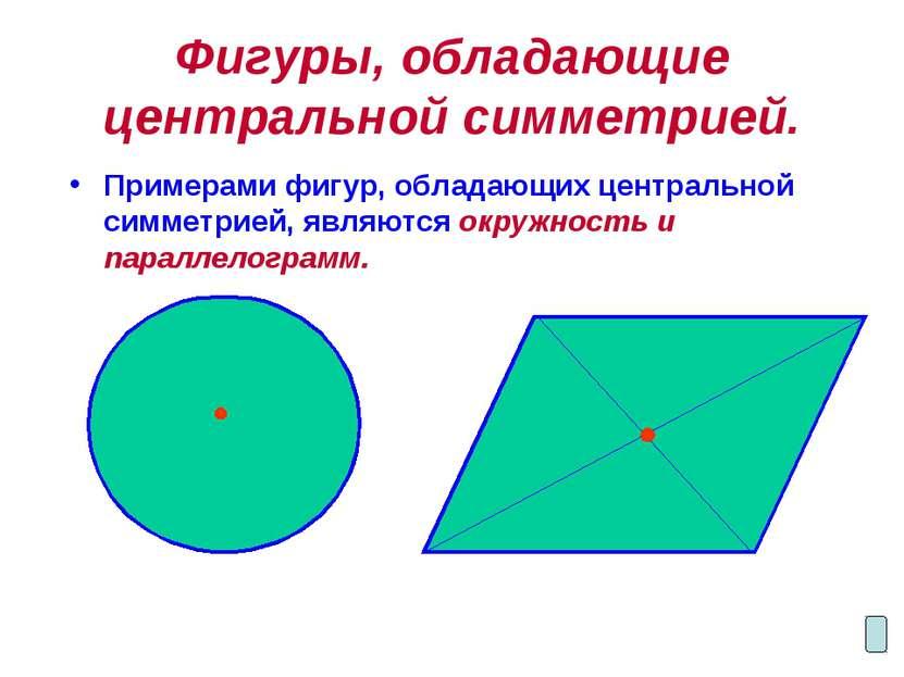 Фигуры, обладающие центральной симметрией. Примерами фигур, обладающих центра...