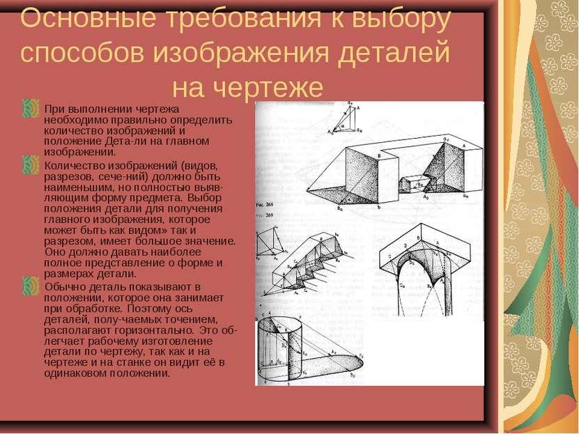 Основные требования к выбору способов изображения деталей на чертеже При выпо...