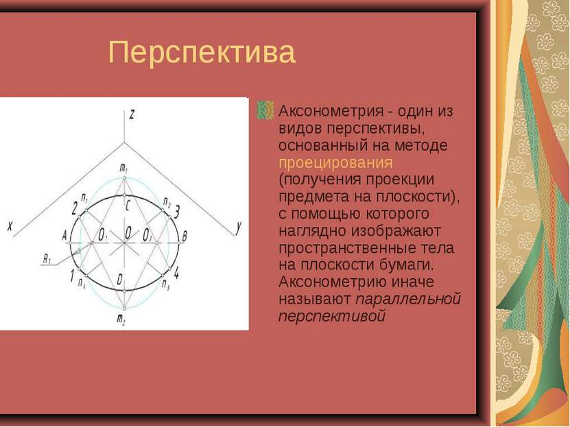 Перспектива Аксонометрия - один из видов перспективы, основанный на методе пр...