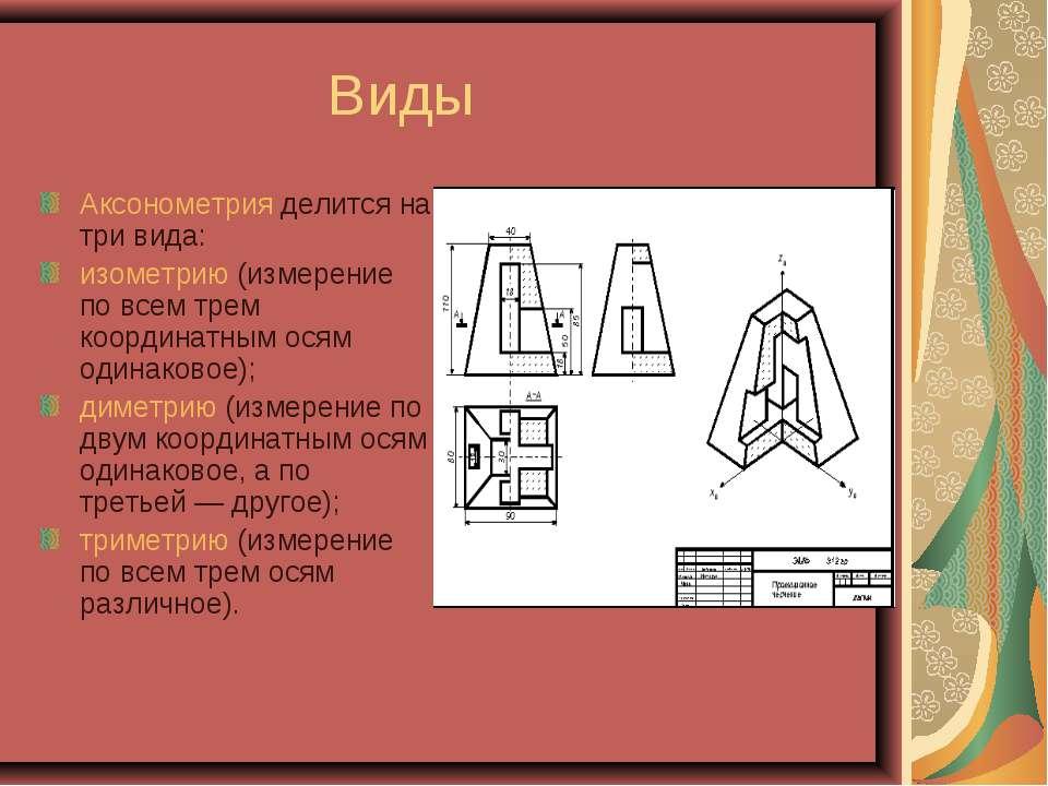 Виды Аксонометрия делится на три вида: изометрию (измерение по всем трем коор...