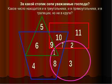 За какой столик сели уважаемые господа? Какое число находится и в треугольник...
