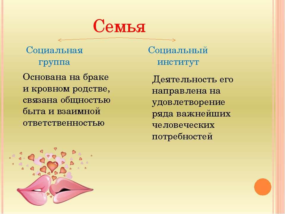 Семья Социальная группа Социальный институт Основана на браке и кровном родст...