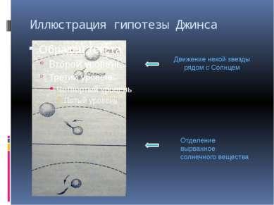 Иллюстрация гипотезы Джинса Движение некой звезды рядом с Солнцем Отделение в...
