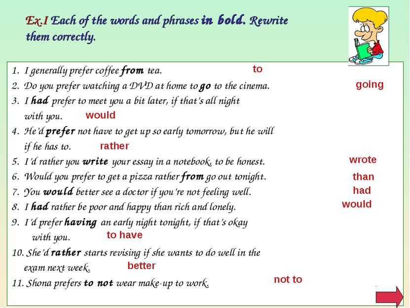 Ex.I Each of the words and phrases in bold. Rewrite them correctly. 1. I gene...
