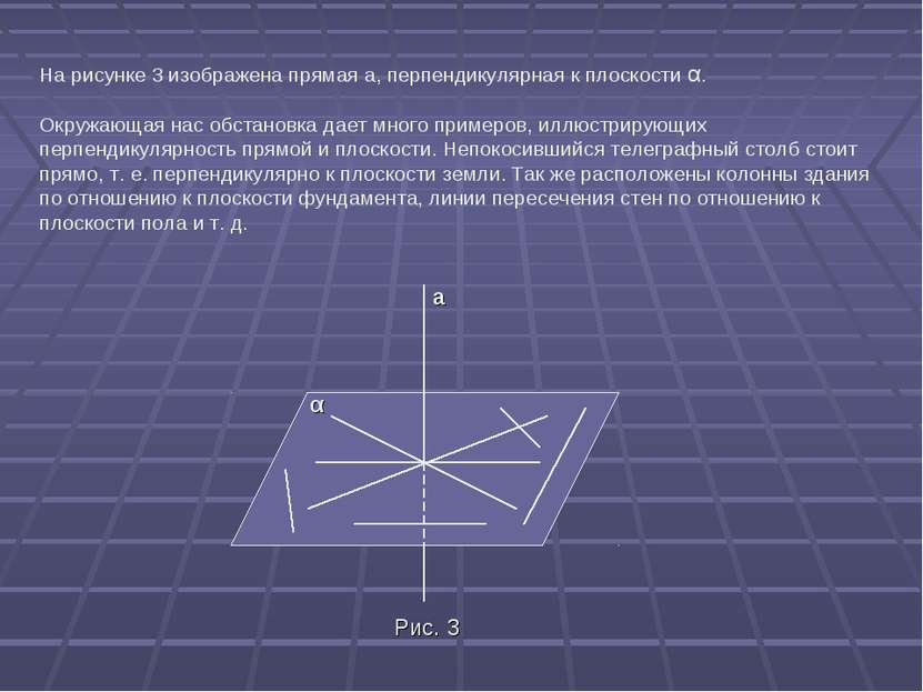 На рисунке 3 изображена прямая а, перпендикулярная к плоскости α. Окружающая ...