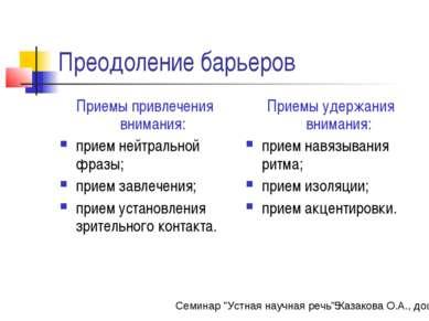 Преодоление барьеров Приемы привлечения внимания: прием нейтральной фразы; пр...