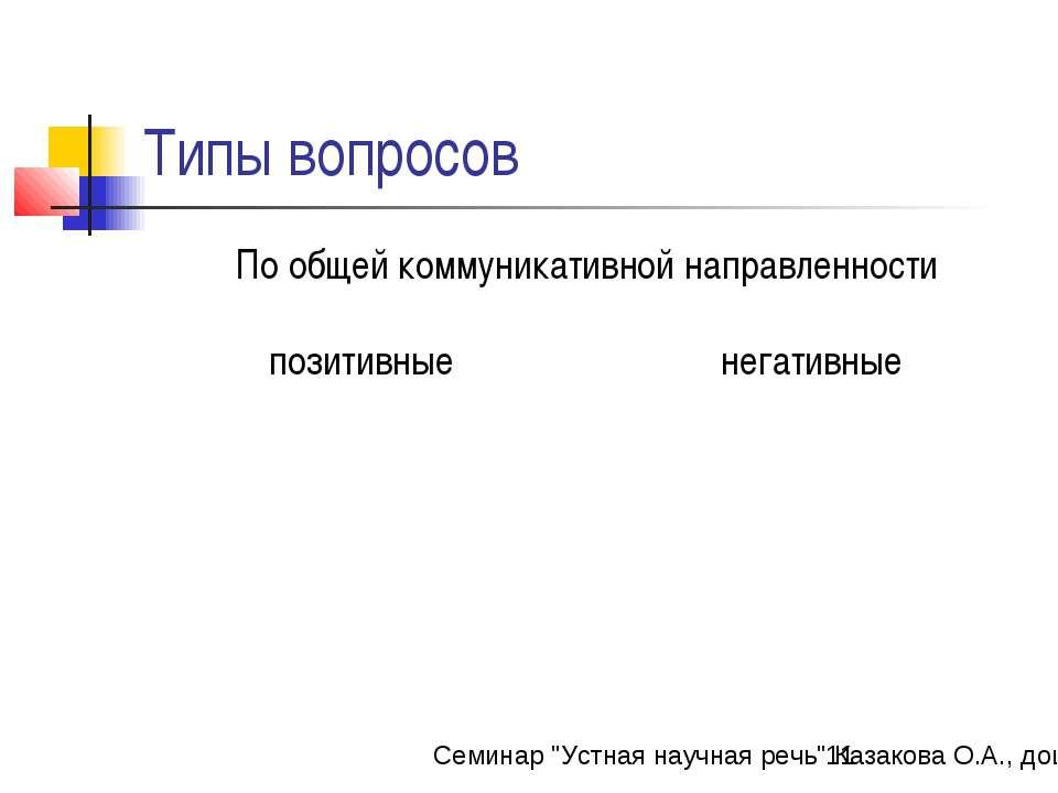 """Типы вопросов Семинар """"Устная научная речь"""" Казакова О.А., доцент каф. РЯЛ ИМ..."""