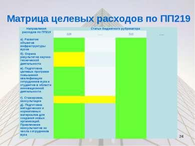 Матрица целевых расходов по ПП219 * Направления расходов по ПП219 Статьи бюдж...