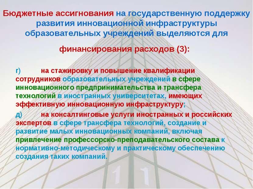 Бюджетные ассигнования на государственную поддержку развития инновационной ин...