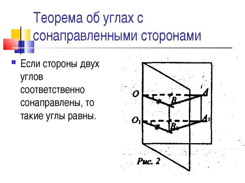 Теорема об углах с сонаправленными сторонами Если стороны двух углов соответс...