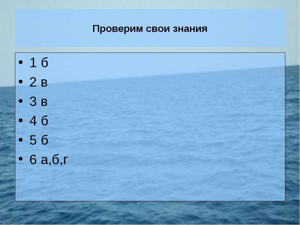 Проверим свои знания 1 б 2 в 3 в 4 б 5 б 6 а,б,г
