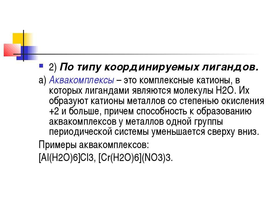 2)По типу координируемых лигандов. а)Аквакомплексы– это комплексные катион...
