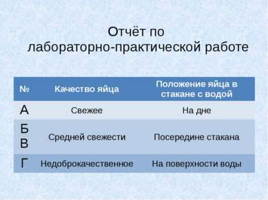 Отчёт по лабораторно-практической работе № Качество яйца Положение яйца в ста...