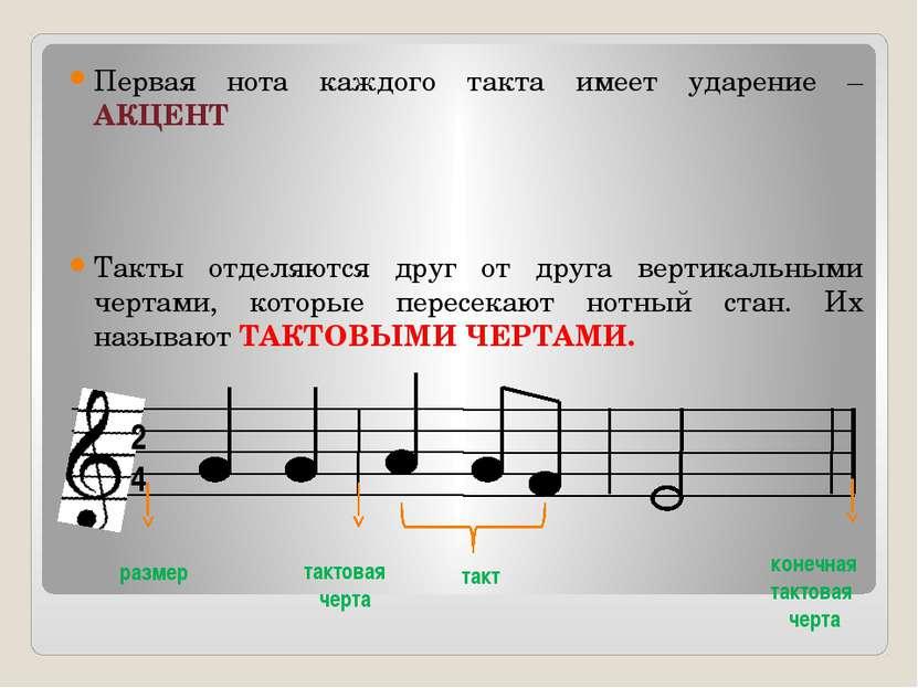 Первая нота каждого такта имеет ударение – АКЦЕНТ Такты отделяются друг от др...
