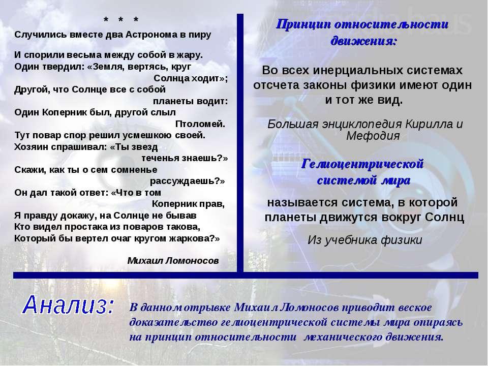 В данном отрывке Михаил Ломоносов приводит веское доказательство гелиоцентрич...