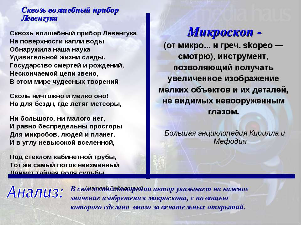 В своем стихотворении автор указывает на важное значение изобретения микроско...