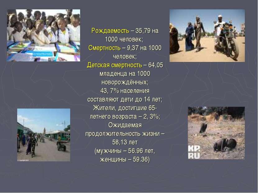 Рождаемость – 35,79 на 1000 человек; Смертность – 9,37 на 1000 человек; Детск...