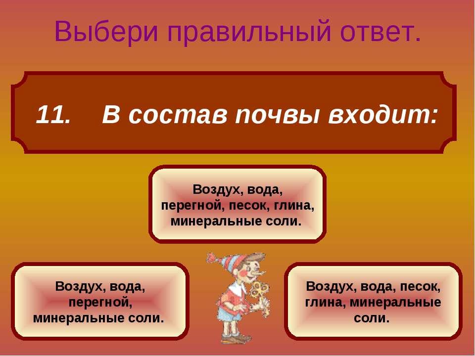11. В состав почвы входит: Выбери правильный ответ. Воздух, вода, перегной, п...