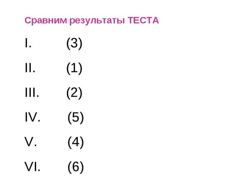 Сравним результаты ТЕСТА I. (3) II. (1) III. (2) IV. (5) V. (4) VI. (6)