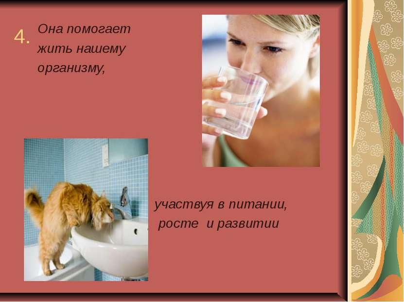 4. Она помогает жить нашему организму, участвуя в питании, росте и развитии