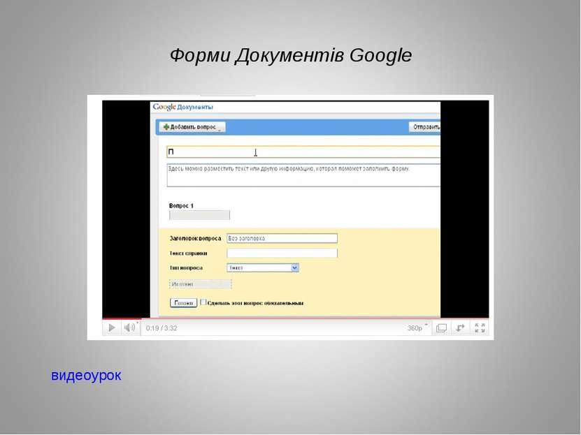 Форми Документів Google видеоурок