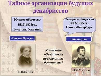 Тайные организации будущих декабристов Южное общество 1812-1825гг., Тульчин, ...