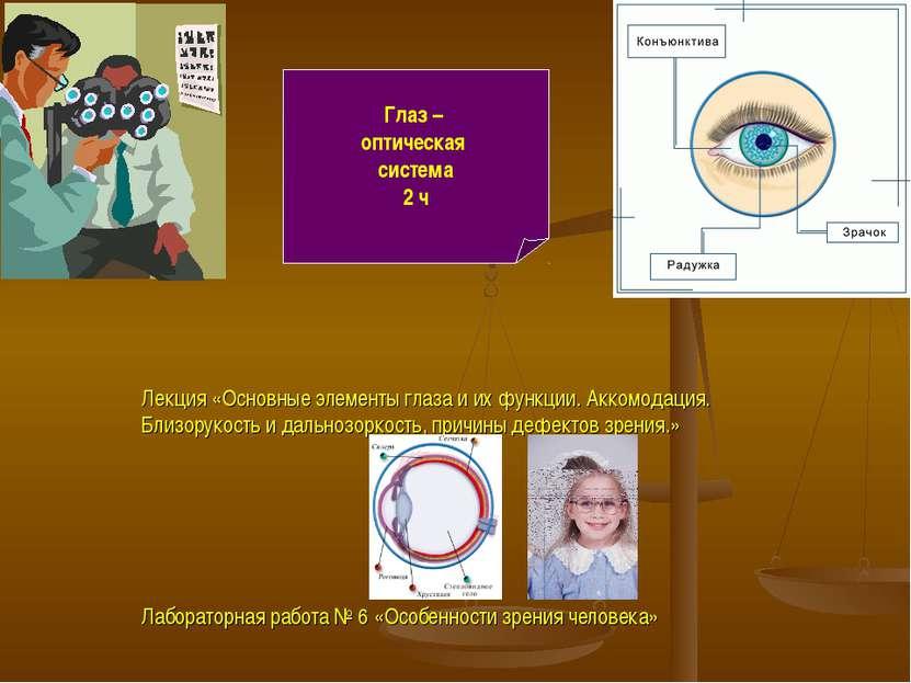 Глаз – оптическая система 2 ч Лекция «Основные элементы глаза и их функции. А...