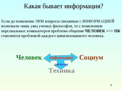 * Какая бывает информация? Если до появления ЭВМ вопросы связанные с ИНФОРМАЦ...