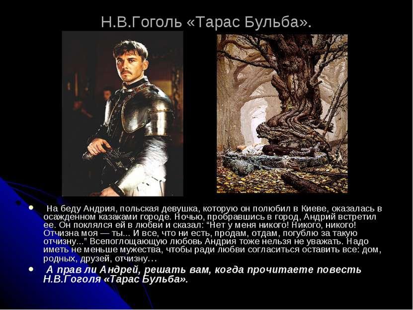 Н.В.Гоголь «Тарас Бульба». На беду Андрия, польская девушка, которую он полю...