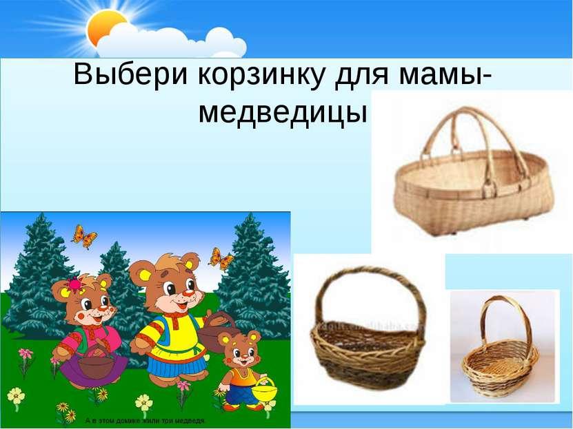 Выбери корзинку для мамы-медведицы