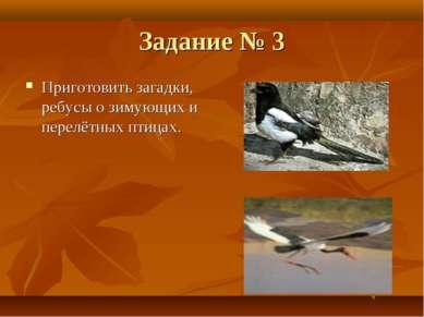 Задание № 3 Приготовить загадки, ребусы о зимующих и перелётных птицах.