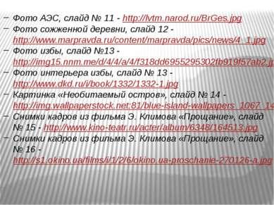 Фото АЭС, слайд № 11 - http://lvtm.narod.ru/BrGes.jpg Фото сожженной деревни,...