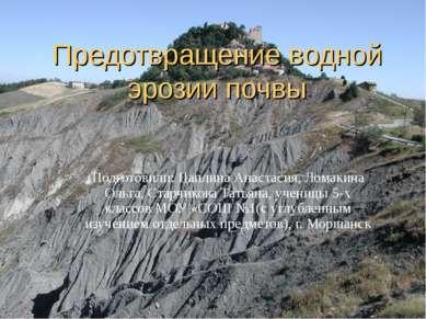 Предотвращение водной эрозии почвы Подготовили: Цаплина Анастасия, Ломакина О...