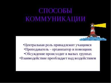 СПОСОБЫ КОММУНИКАЦИИ Центральная роль принадлежит учащимся Преподаватель - ор...