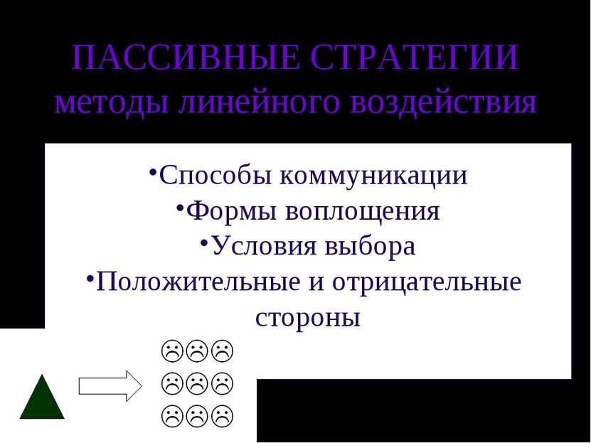 ПАССИВНЫЕ СТРАТЕГИИ методы линейного воздействия Способы коммуникации Формы в...