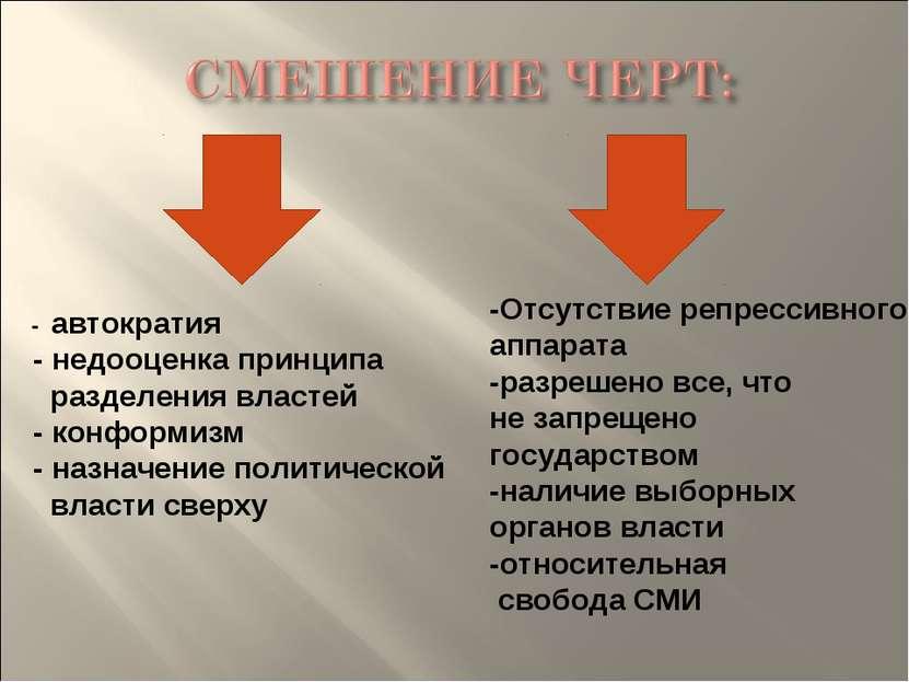 - автократия - недооценка принципа разделения властей - конформизм - назначен...