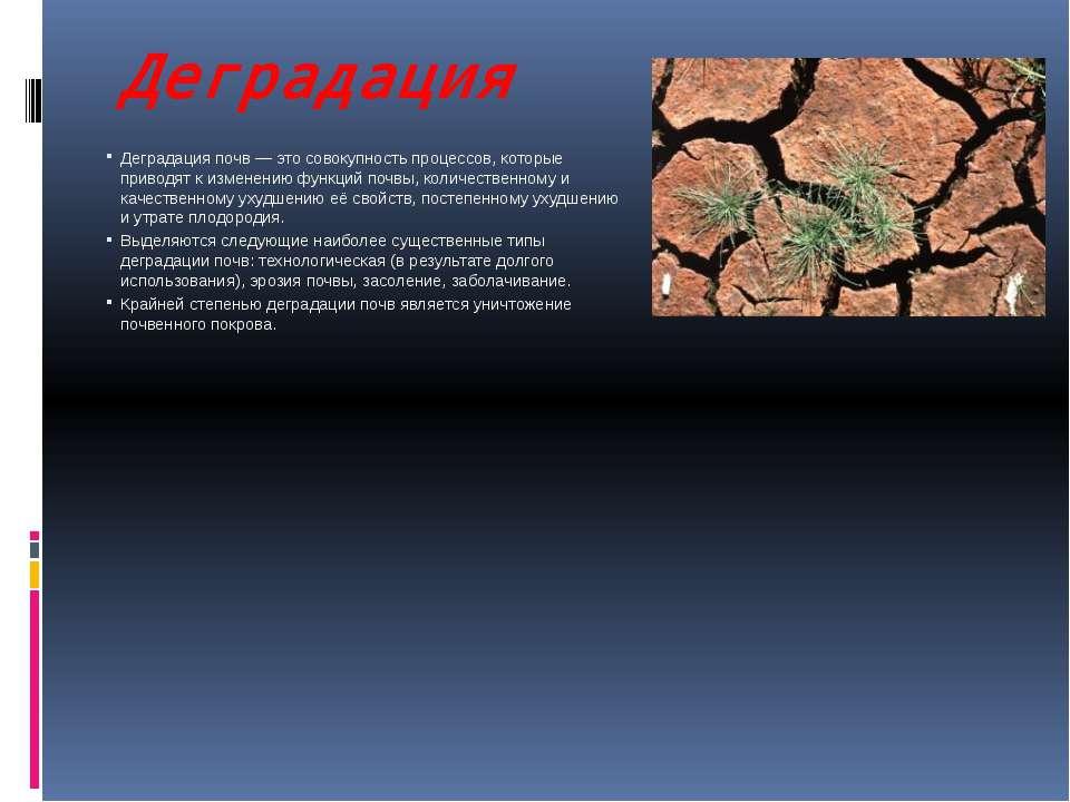 Деградация Деградация почв — это совокупность процессов, которые приводят к и...