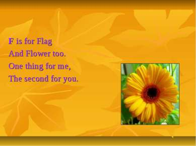 F is for Flag And Flower too. One thing for me, The second for you.