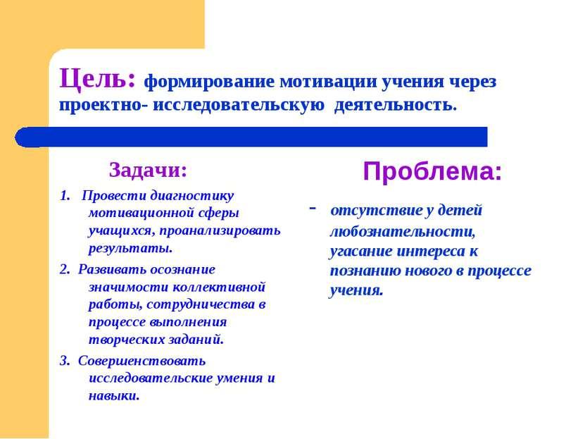 Цель: формирование мотивации учения через проектно- исследовательскую деятель...
