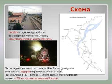 Батайск – один из крупнейших транспортных узлов юга России, «железнодорожные ...
