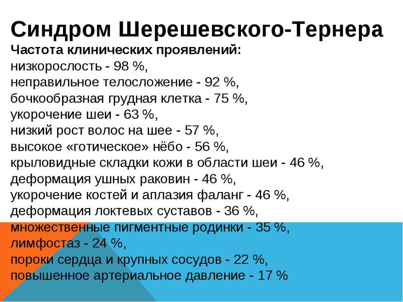 Синдром Шерешевского-Тернера Частота клинических проявлений: низкорослость - ...
