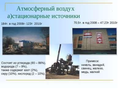 Атмосферный воздух а)стационарные источники 184т. в год 2008г- 123т 2010г 70,...