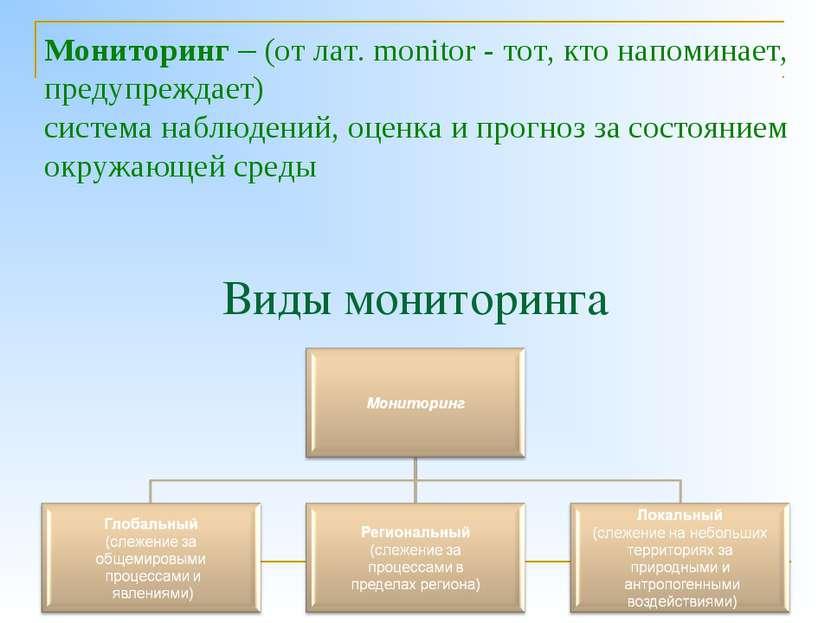 Виды мониторинга Мониторинг – (от лат. monitor - тот, кто напоминает, предупр...